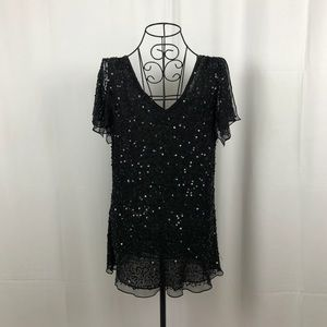 Adrianna Papell sequin/beaded silk black top L